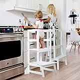 Lernturm,Tritthocker Kinder Holz Montessori Lernturm ab 1 Jahr Weiß Küchenhelfer Ständer Küchenhocker