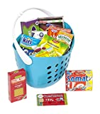 Polly Kaufladen Zubehör Set Blau Einkaufskorb gefüllt mit Miniaturen   Kinder Spielzeug für den Kaufmannsladen   Kinderkaufladen