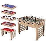 BLUE HAWAII 8 in 1 Multigame Spieletisch , inkl. Kickertisch, Billardtisch usw. Gefahrstofftest bestanden, 122 X 61 X 82 cm,25kg Familie Spieltisch mit komplettem Zubehör