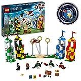 LEGO 75956 Harry Potter Quidditch Turnier Bauset, Gryffindor, Slytherin, Ravenclaw und Hufflepuff Türme, Harry Potter Spielzeuggeschenke