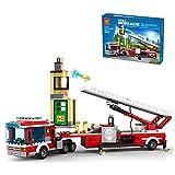 TRCS Bausteine Feuerwehrauto, Polizeiauto, 431 Teile City SWAT Polizei Minifigur Spielzeug, Kompatible with Lego 60215 City Feuerwehr-Station