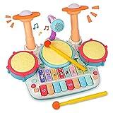 Rabing Kindertrommel Set, Baby Musical Trommel & Klavier Toy, Musik Schlagzeug mit Blinkenden Lichtern und Mikrofon, Kinder Lernen Lernspiel für 1-6 Jahre