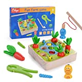 Herefun 3 in 1 Angelspiel Holzspielzeug, Montessori Motorik Spielzeug, Holz Karotte Kinderspielzeug mit Angeln, Zange, Lernspielzeug Geschenk für Jungen und Mädchen (B)