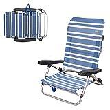 AKTIVE 62600 62600-Faltbarer Strandstuhl niedrig 5 Positionen maritimer Beach 61 x 53 x 78 cm, Kombinierte Materialien, blau, 78 x 62 x 77 cm