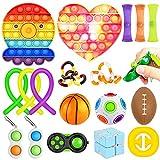 AILUKI Anti Stress Spielzeug Set 21Pcs Sensory Fidget Toys für Oster Erwachsene Gobbles Sticky Balls Push Bubble Bohnen String Ultimate Cube Kawaii Katze Squeeze Spielzeug für Autism Kinder