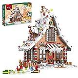 TopBau Weihnachtliches Lebkuchenhaus Modell Bausatz mit LED Licht, 1455+ Teile, Weihnachten Haus Bausteine Set Kompatibel mit Lego Creator 10267