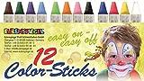 Eulenspiegel 626122 - Color-Sticks, 12 Stück, Schminkstifte auf Fettbasis