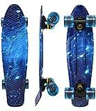 WonderTech 55 cm Galaxis Skateboard Kinder ab 5 Jahre, 22 Zoll Penny Board Blau Mini Cruiser für Jungen und Mädchen