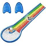 Rasen Wasserrutsche für Kinder/Jugendliche/Erwachsene 600x150cm Aufblasbare Wasserbahn mit Sprinkler Lane Slip, Splash und Slide Pool für Hinterhöfe mit 2 Surfbrettern extra dickem PVC (6M Waterslide)