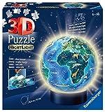 Ravensburger 3D Puzzle 11844 - Nachtlicht Erde bei Nacht - 72 Teile - Puzzle-Ball Globus ab 6 Jahren, LED Nachttischlampe mit Klatsch-Mechanismus