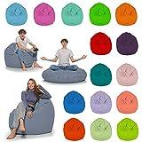 HomeIdeal - Sitzsack 2-in-1 Funktionen Bodenkissen für Erwachsene & Kinder - Gaming oder Entspannen - Indoor & Outdoor da er Wasserfest ist - mit EPS Perlen, Farbe:Anthrazit, Größe:130 cm Durchmesser