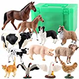 LNHJZ 12PCS Tiny Farm Animal Figuren Spielzeug, detaillierte Textur Farm Figuren Cake Topper Toy Set, Osterei Weihnachten Geburtstagsgeschenk Party Favor Schulprojekt für Kinder Kinder Kleinkinder