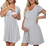 Meaneor Stillnachthemd Damen Geburt Nachthemd Kurz Stillfunktion Kurzarmkleid Nachtkleid Stillen Nachtwäsche Kurz Umstandspyjama für Schwangere und Stillzeit
