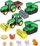 GeyiieTOYS Farm World Spielset 4x Farm Fahrzeuge Traktor mit Anhänger Bauernhof Truck Ackerschlepper Vertikutierer Fahrzeug Nutztieren Spielzeug Auto Vorschulalter Geschenk Set 11-teiliges ab 3 Jahre