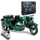 KEAYO Technik Motorrad Ferngesteuert, CADA C51021W, Technik WWII Militärmotorrad Modell mit Motors, Klemmbausteine Bausatz Kompatibel mit Lego Technik Motorrad