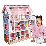 Infantastic® XXL Puppenhaus aus Holz mit LED - 3 Spielebenen, Möbeln/Zubehör, für 13cm große Puppen - Puppenvilla, Dollhouse, Kinder, Spielzeug, Kinderzimmer, Schlafzimmer, Mädchen, Jungen
