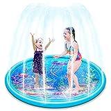 Ucradle Splash Pad, 170CM Sprinkler Matte Anti-Rutsch mit Ozeanmuster, Splash Play Matte, Sommer Garten Outdoor Wasserspielzeug für Kinder/Haustiere