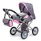 Bayer Design 13666AA Kombi Puppenwagen City Star, mit herausnehmbarer Tragetasche und Umhängetasche, höhenverstellbar, wandelbar als Jogger, für Puppen bis 46cm, grau, pink, gepunktet mit Fee