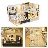 Puppenhaus-Kit, Miniatur mit Möbeln, DIY Holzpuppenhaus-Kit Plus Staubschutz und Musikbewegung, DIY handgefertigte Hausmöbel-Bewegung für Weihnachten Geburtstag