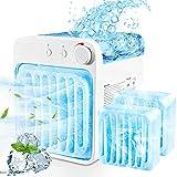 Mobile Klimaanlage Mini Luftkühler Klein Air Cooler 4 in 1 USB Tragbare Klimageräte Persönlicher Desktop Kompakter Luftkühler mit LED-Licht Mini Luftkühler mit Wassertank für Büro Auto/keine Batterie