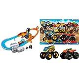 Hot Wheels GNB05 Monster Trucks Skorpion Beschleuniger Rennbahn Set mit Monster Truck und Hot Wheels Fahrzeug & Wheels FYJ64, Monster-Truck Duos, 2er Packung, Farbe und Modell Sortiert