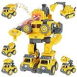 Bagger Spielzeug 5 in 1 DIY Demontage Baufahrzeug Roboter,Bau Verwandlungsroboter Kinderspielzeug Autos,BAU Spielzeug Sandkasten Sand Spielzeug Ingenieurbagger-Set,für Kinder Jungen 3 4 5 6 7 8 Jahre.