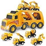 BAU LKW Spielzeug für Jungen und Mädchen, Autos Spielzeug, Spielfahrzeuge mit Ton und Licht, Engineering Spielset, Geschenkset von kleinen Kran Mixer Dump Bagger Spielzeug