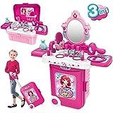 Dreamon Schminkset Rollenspiel Spielzeug 3 in 1 Tragbarer Schminktisch mit Kosmetik Zubehör in Koffer Regalo für Kinder Mädchen Prinzessin