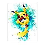 Kimily DIY Malen nach Zahlen für Erwachsene Kinder Pokemon Malen nach Zahlen DIY Malen Pikachu Acryl Malen nach Zahlen Malerei Kit Home Wand Wohnzimmer Schlafzimmer Dekoration Pikachu