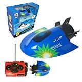 2.4GHz Fernbedienung Spielzeug Boote Wasser Kinder Spielzeug Fernbedienung Boot RC Boote für Kinder und Erwachsene Mini Remote U-Boot-Flüsse und Pools RC-Boote für Seen (Color : Blau)