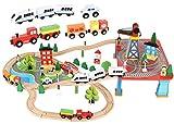 KRUZZEL Bateriebetriebene Lokomotive Holz Eisenbahn Set 88 TLG.für Kinder ab 3 Jahre Mädchen Jungen 9363