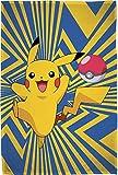 Große Pokémon Wohndecke Go Pikatchu 160 x 200 cm super weiche Flanell-Decke Kuscheldecke Sofadecke Coral-Fleece-Decke Pokemon Snap Pokeball Ash Legends Arceus Diamant Perle pass. zur Bettwäsche