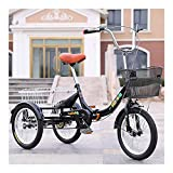 ZCXBHD Dreirad Für Erwachsene 16 Zoll Einzelne Geschwindigkeit 3 Räder Fahrrad Mit Korb Lastenfahrrad Zum ältere Menschen Übung Einkaufen Picknick Draussen (Color : Black, Size : 16 Inch)