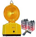 ES-Team Consult GmbH UVWRN-12 Baustellenleuchte, LED, Warnleuchte gelb - mit Secura-Halter, inkl. 2 x 6 Volt Batterien und 1 x Lampenschlüssel
