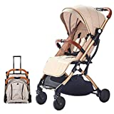 SONARIN Leicht Kinderwagen,kompakt Reise Buggy,einhändig faltbar,Fünf Punkt Gurt,ideal für Flugzeug(Khaki)
