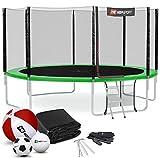 Hop-Sport Trampolin Outdoor Ø 430 cm – Gartentrampolin Komplettset mit stabilen U-Beinen, außenliegendem Netz, Sprungtuch und Leiter sowie Extra-Zubehör, grün