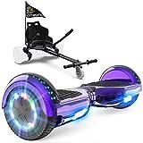 GeekMe Hoverboards mit Sitz, Elektroroller Hoverkart, Elektro Scooter Go-Kart mit Bluetooth-Lautsprecher LED-Leuchten, Geschenk für Kinder Jugendliche Erwachsene
