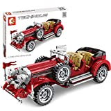 Sugeren Oldtimer Vintage Modellauto, Retro Classic Auto Modellbausatz, Pull Back Auto Spielzeug, Sammlerstück Auto Modell für Kinder Erwachsene, 617 Teile Klemmbausteine Kompatibel mit Lego