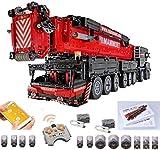 Foxcm Technik Kran LKW, Technik Mobiler Schwerlastkran, Groß MOC Bauset mit Fernbedienung und 12 Motoren, 7000 Klemmbausteine Kompatibel mit Lego Technic