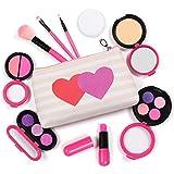 AMOSTING Kosmetikset Kinder Mädchen 9 Stück Schminkkoffer Gefüllt Kinderschminke Waschbar mit MEHRWEG Kosmetiktasche, Perfektes Mädchengeschenk Schminke Spielzeug für 3 4 5 6 7 Jährige, Rosa