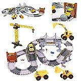 Autorennbahn Rennbahn Cars Spielzeug-spielzeugautos Autobahn ab 3 4 5 6 Jahre Junge Mädchen,Flexible Track Kran Pädagogisches Spielzeug Crane, elektroauto Cars autorennbahn für Kinder 161 Stück
