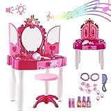 deAO Frisierkommode für Mädchen -Spielset mit Glamourspiegel; Make-up-Zubehör; Hocker; Licht & Musik Funktionen Tolles Geschenk NEU