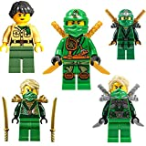 Ninjago Lego Minifiguren Set Lloyd 5 Verschiedene Figuren ( Lloyd Garmadon / Lloyd Silberne Rüstung / Lloyd goldene Rüstung / Lloyd Zx / Misako (Mutter von Lloyd)) mit Waffen