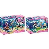Playmobil Magic 70095 Nachtlicht Perlenmuschel, Ab 4 Jahren & 70100 Magic Familie mit Muschelkinderwagen, bunt