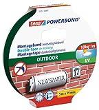 tesa Powerbond Outdoor - Doppelseitiges Montageband für den Außenbereich - Wasserfestes, starkes, UV-beständiges Klebeband - 5 m x 19 mm