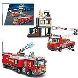 CALEN City Feuerwehr Station Baukasten mit Gebäuden, Feuerwehrautos, Sprinklern, kompatibel mit Lego 60215