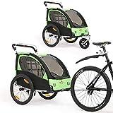 2 in 1 Fahrradanhänger 360 ° drehbarer Kinderwagen Zweisitzer mit Griffbremse und Radschutz Baby-Jogging-Gerät BT502 (Grün)