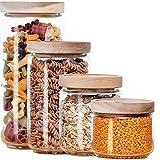 Econovo® Vorratsgläser Set mit Deckel (4-teilig) aus mundgeblasenem Borosilikatglas, stapelbar und luftdicht, Vorratsdosen Glas-Behälter Set für Lebensmittel groß klein 1000ml/700ml/500ml/300ml