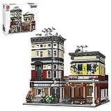 MOMAMOM Sushi Corner Street View Baukasten im japanischen Stil, modulares Haus, 2662+Pcs DIY MOC Architekturmodell, Bausteine kompatibel mit Lego