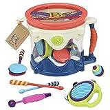 B. toys Trommel mit Trommelstöcken, Shaker, Rasselei, Percussion Set – Spielzeug Kindertrommel mit 7 Musikinstrumente für Kinder ab 18 Monaten (7 Teile)